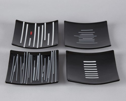 Black & White Small Plates by Melody Lane (Art Glass)