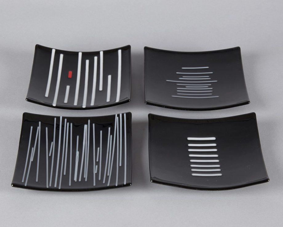 Black & White Small Plates by Melody Lane (Art Glass)