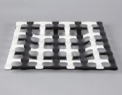 Black & White Square Plate by Melody Lane (Art Glass)
