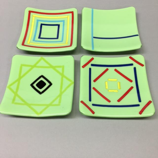Gray small plates by Melody Lane (Art Glass)