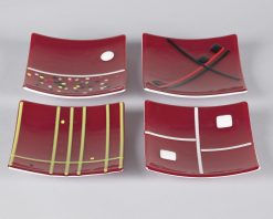 Red Small Plates by Melody Lane (Art Glass)