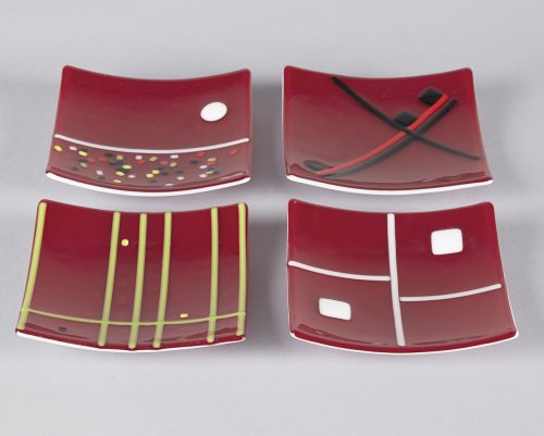 Red Small Plates by Melody Lane (Art Glass) | American Artwork Orange small plates