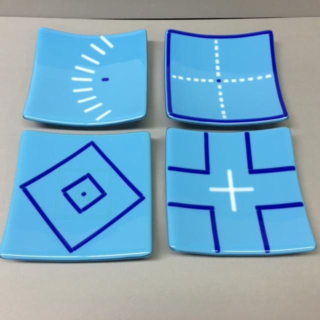 Turquoise small plates by Melody Lane (Art Glass)