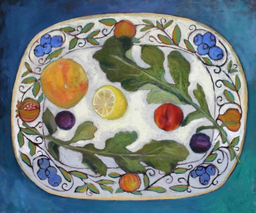 Arugula + Fruit Plate by Terry Wise (Oil Painting)