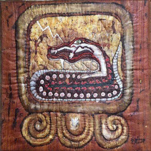 I Chicchan (One Serpent), Fiber Wall Art by Karen Schuman