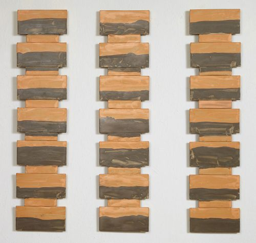 Muted Orange Triptych by Kristi Sloniger (Ceramic Wall Sculpture) | American Artwork