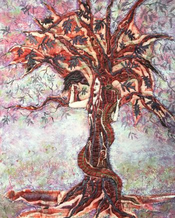 Rooted in Knowledge, Fiber Wall Art by Karen Schuman