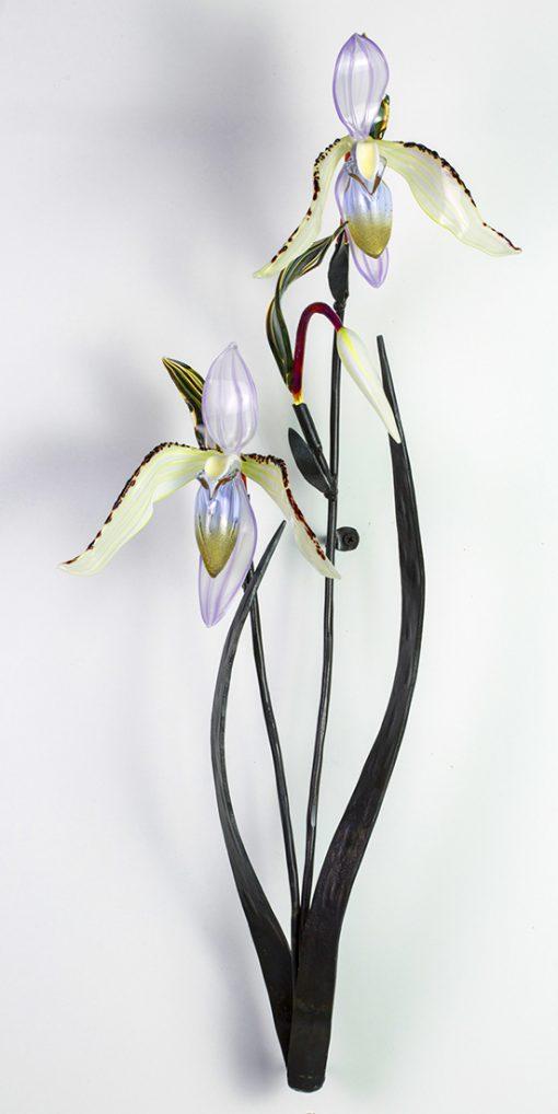 Double Lady Slipper by Loy Allen (Art Glass Sculpture) | American Artwork