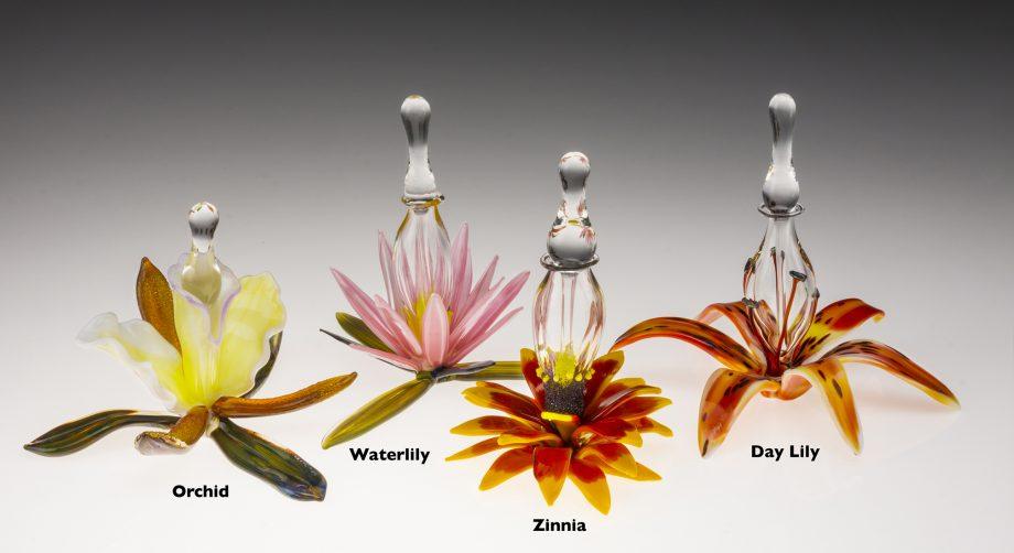 Floral Bottle (Group) by Loy Allen (Art Glass Perfume Bottle) | American Artwork