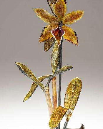 Gold Cattleya on Leaves by Loy Allen (Art Glass Sculpture) | American Artwork