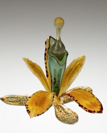 Gold Orchid Bottle by Loy Allen (Art Glass Perfume Bottle) | American Artwork