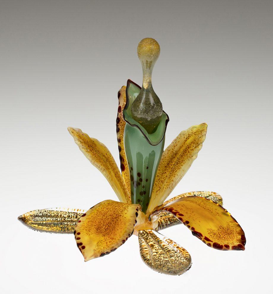 Gold Orchid Bottle by Loy Allen (Art Glass Perfume Bottle) | American Artwork