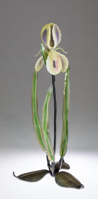 Iris on Leaves by Loy Allen (Art Glass Sculpture) | American Artwork