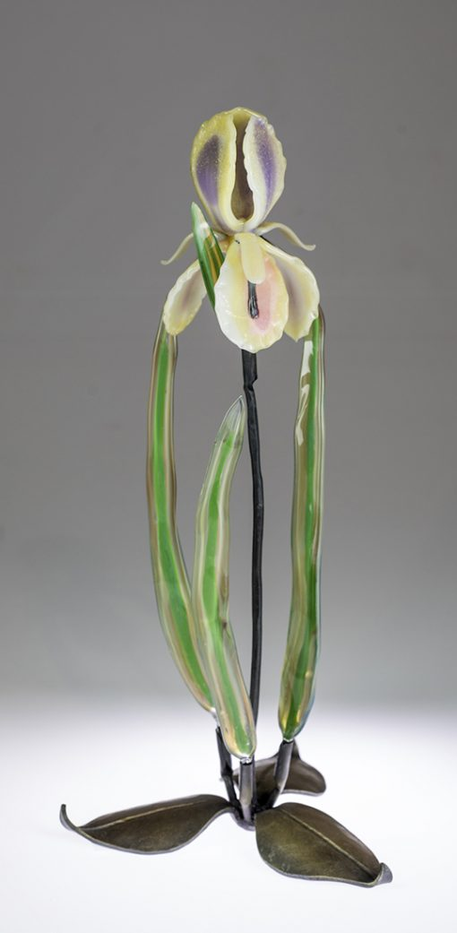Iris on Leaves by Loy Allen (Art Glass Sculpture) | American Artwork