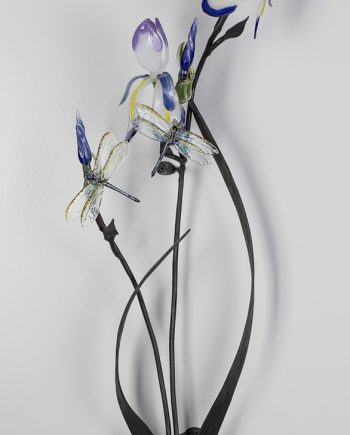 Iris with Dragonflies by Loy Allen (Art Glass Sculpture) | American Artwork