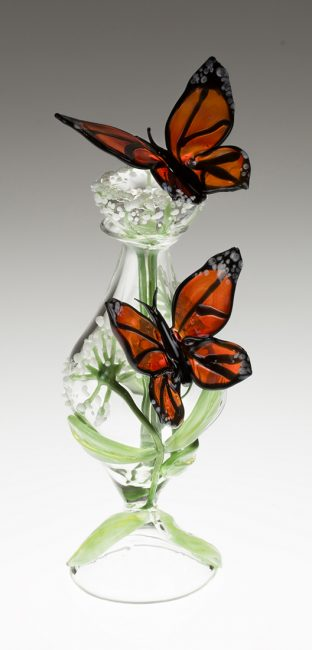 Milkweed Monarch Bottle by Loy Allen (Art Glass Perfume Bottle) | American Artwork
