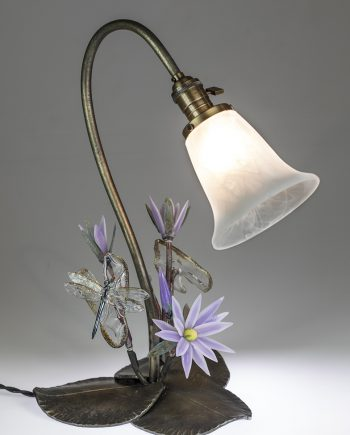 Waterlily Lamp by Loy Allen (Art Glass Lamp Sculpture) | American Artwork