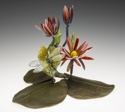Waterlily on Leaves by Loy Allen (Art Glass Sculpture) | American Artwork