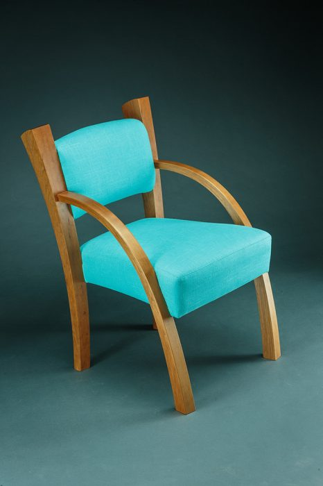 Armchair by Todd Bradlee (Hand-built Wood & Fabric Armchair) | American Artwork