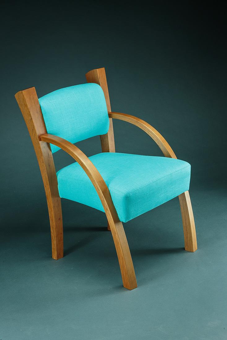 Armchair by Todd Bradlee (Hand-built Wood & Fabric Armchair) | American Artwork