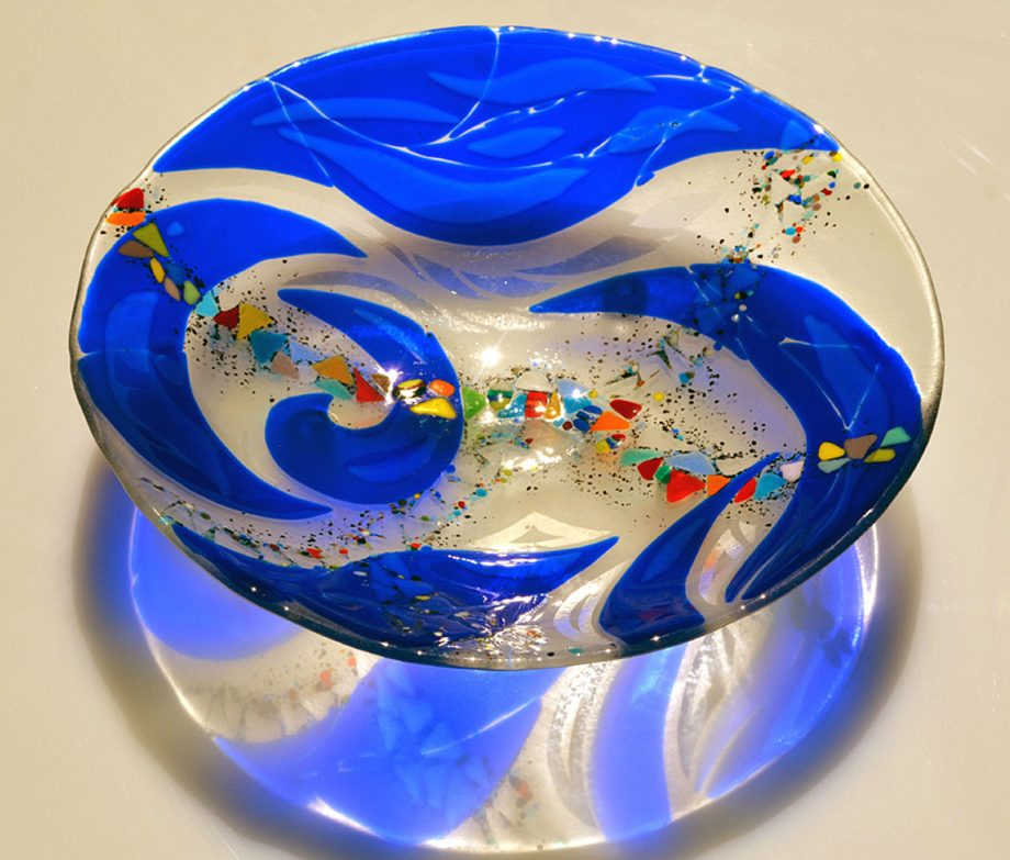 Cobalt Serving Bowl by Bonnie Rubenstein (Art Glass Bowl) | American Artwork