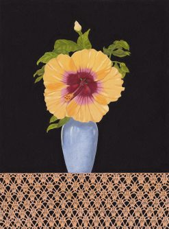 Hibiscus with Macrame by Rebecca Gabriel (Mixed Media Painting) | American Artwork