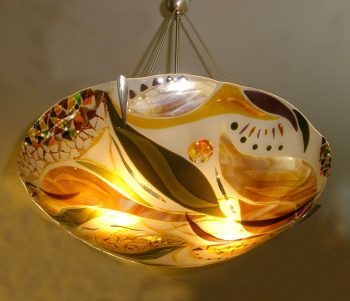 Large Amber Chandelier by Bonnie Rubenstein (Art Glass Chandelier) | American Artwork