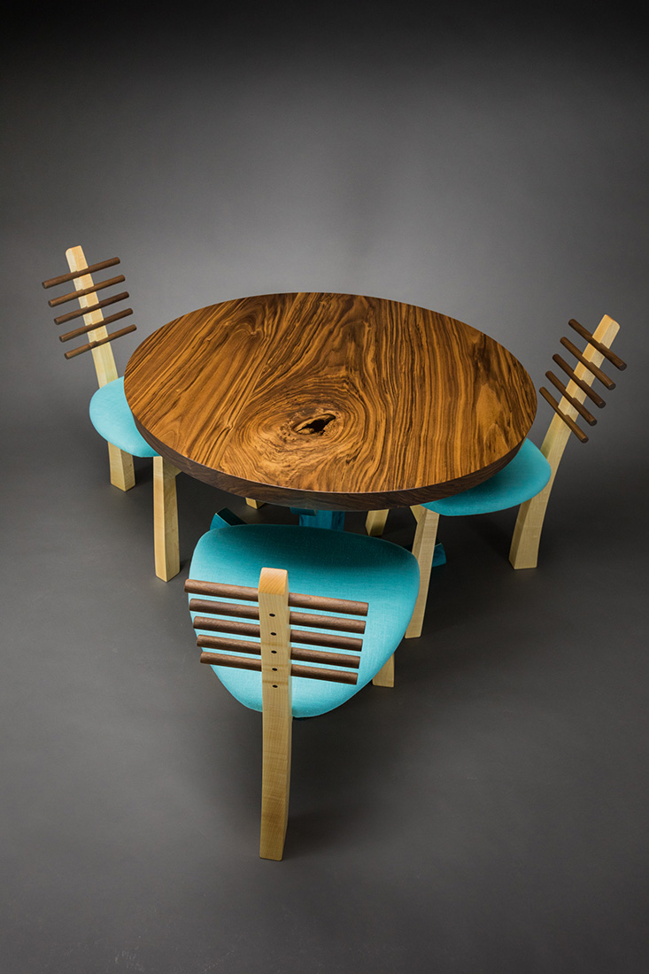Pedestal table by Todd Bradlee (Hand-built Wooden Table)   American Artwork