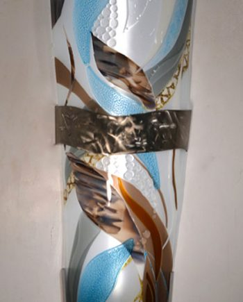 Tall Aqua/Taupe Sconce by Bonnie Rubenstein (Art Glass Light Sconce) | American Artwork