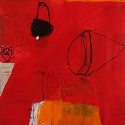 Observations in Red 1 by Silvia Poloto (Abstract Mixed Media Painting) | American Artwork