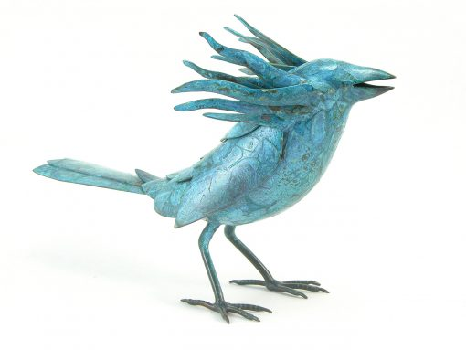 Bird in the Hand - Blue by Charles McBride White (Bronze Sculpture) | American Artwork